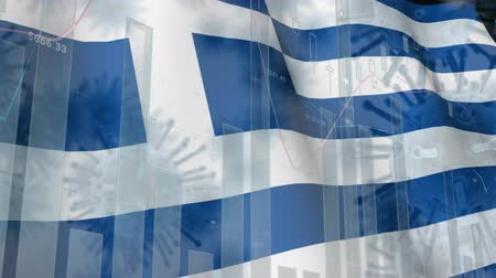 greek flag : Animation of multiple macro corona virus spreading with charts and statistics and Greek national flag billowing in the background. Global health warning scare spreading infections concept digitally generated image. Stock Footage