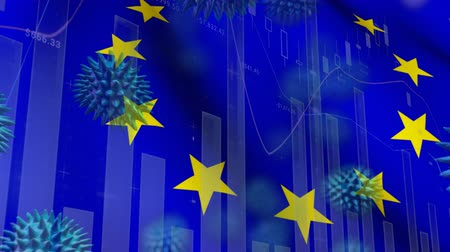 koróna : Animation of multiple macro corona virus spreading with charts and statistics and European Union flag billowing in the background. Global health warning scare spreading infections concept digitally generated image. Dostupné videozáznamy