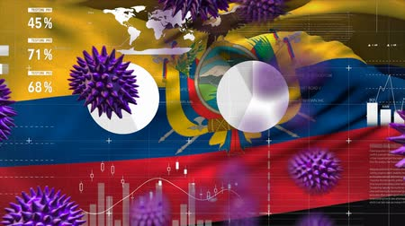 organizma : Animation of multiple macro corona virus spreading with charts and statistics and Ecuadorian national flag billowing in the background. Global health warning scare spreading infections concept digitally generated image. Stok Video