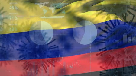 organizma : Animation of multiple macro corona virus spreading with charts and statistics and Colombian national flag billowing in the background. Global health warning scare spreading infections concept digitally generated image.
