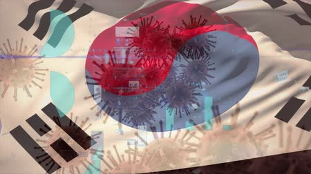 schrikken : Animation of multiple macro corona virus spreading with charts and statistics and South Korean national flag billowing in the background. Global health warning scare spreading infections concept digitally generated image. Stockvideo