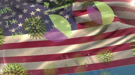 longontsteking : Animation of multiple macro corona virus spreading with charts and statistics and American national flag billowing in the background. Global health warning scare spreading infections concept digitally generated image. Stockvideo