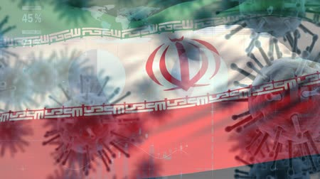 koróna : Animation of multiple macro corona virus spreading with charts and statistics and Iranian national flag billowing in the background. Global health warning scare spreading infections concept digitally generated image.