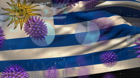 locatie : Animation of multiple macro corona virus spreading with charts and statistics and Uruguayan national flag billowing in the background. Global health warning scare spreading infections concept digitally generated image.