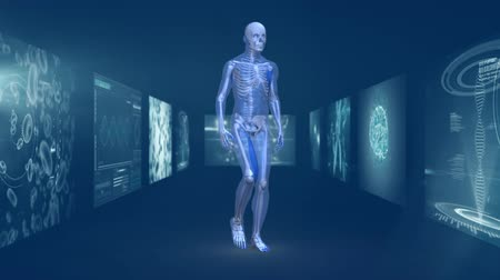 representação : Animation of 3d blue model of human walking in hallway of magnetic resonance imaging scan screens and DNA strands rotating in the background. Global medicine science and research network digitally generated image. Vídeos