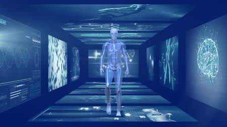 rezonans magnetyczny : Animation of 3d blue model of human walking in hallway of magnetic resonance imaging scan screens and DNA strands rotating in the background. Global medicine science and research network digitally generated image. Wideo
