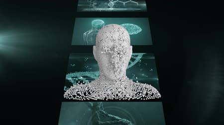 biust : Animation of 3d grey human bust appearing from multiple particles in front of strip of magnetic resonance imaging scan screens and DNA strand spinning in the background. Global medicine science and research network digitally generated image. Wideo