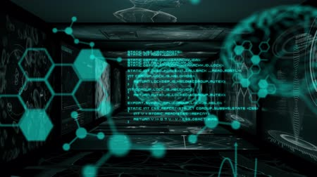 skenovat : Animation of 3d green glowing data processing and human brain in front of screens with scientific data and DNA strand spinning in the background. Global medicine science and research network digitally generated image. Dostupné videozáznamy