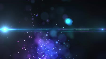distorsiyon : Animation of shimmering glittering blue and purple particles floating with glowing lights moving around on dark blue background. Repetition and flowing light digitally generated image