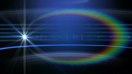 hale : Animation of multiple blue horizontal glowing lines with rainbow coloured halo and a wandering star moving on dark blue background. Repetition and flow digitally generated image