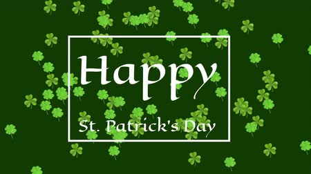 patron : Animation of the words Happy St. Patricks Day written in white letters in white frame, with multiple green shamrock clover leaves moving on green background. Celebration of Irish culture concept digitally generated image. Stock Footage