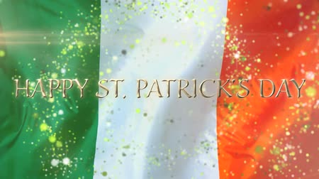 patron : Animation of the words Happy St. Patricks Day written in golden letters, green sparkling spots of light flying in circles on Irish flag in the background. Celebration of Irish culture concept digitally generated image.
