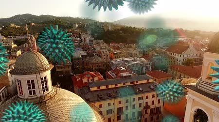 organizma : Animation of multiple green macro corona virus spreading and floating with aerial view of cityscape at sunset in the background. Global health warning scare spreading infections concept digital composite. Stok Video