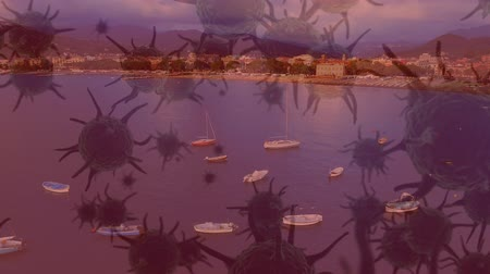 organizma : Animation of multiple macro corona virus spreading and floating with aerial view of cityscape with boats on sea in the evening in the background. Global health warning scare spreading infections concept digital composite.