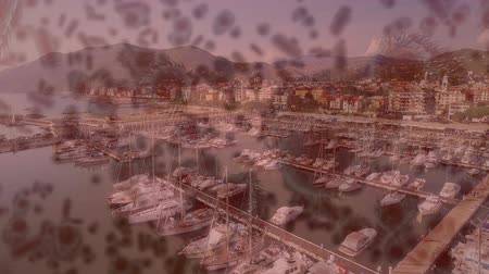 organizma : Animation of multiple macro corona virus spreading and floating with aerial view of cityscape with boats on sea in the background. Global health warning scare spreading infections concept digital composite.