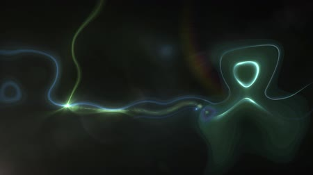 distorsiyon : Animation of multiple distorted blue and green liquid shapes with yellow wandering star moving around on black background. Repetition and flowing light digitally generated image.