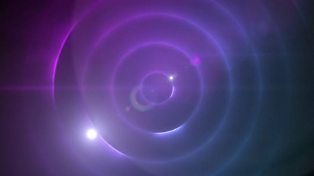 concêntrico : Animation of universe with glowing purple and pink concentric orbits spinning with a glowing wandering star on dark background. Repetition geometry and flowing light motion digitally generated image.