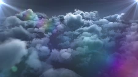 ностальгия : Animation of glowing wandreding star moving around on blue overcast sky with rainbow and stormy clouds on blue background. Repetition and flowing light digitally generated image Стоковые видеозаписи