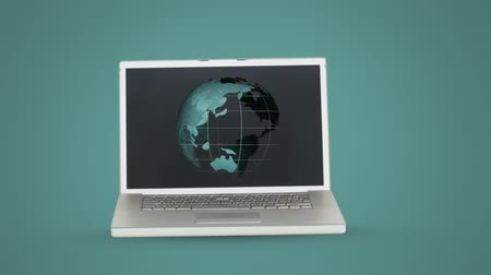 データベース : Animation of globe spinning displayed on computer laptop on green background. Global communication modern technology concept digitally generated image.