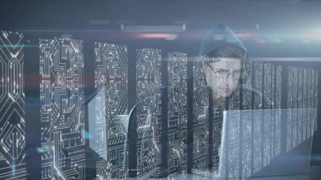 поставщик : Animation of man working on two laptop computers, data processing and digital information flowing through network of computer servers in a server room with white light trails flowing on surface. Global network of internet service provider or data processi Стоковые видеозаписи
