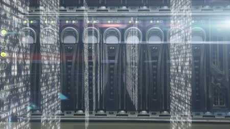 gondoskodó : Animation of data processing and digital information flowing through network of computer servers in a server room with white light trails flowing on surface. Global network of internet service provider or data processing center concept digitally generated