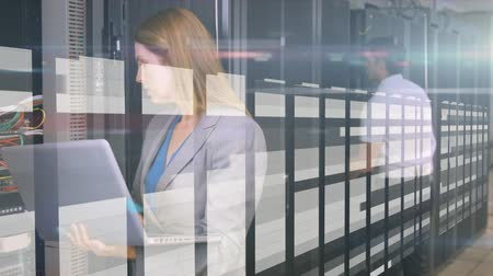 gondoskodó : Animation of woman and man working in a computer processor room, using a laptop computer,  data processing and digital information flowing through network of computer servers in a server room with white light trails flowing on surface. Global network of i