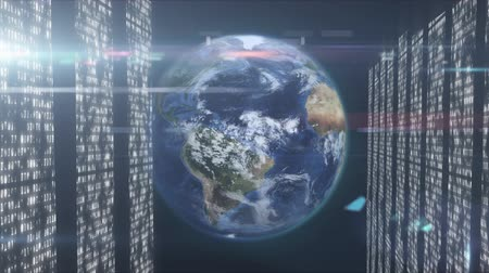 provider : Animation of globe spinning, data processing and digital information flowing through network of computer servers in a server room with white light trails flowing on surface. Global network of internet service provider or data processing center concept dig Stock Footage