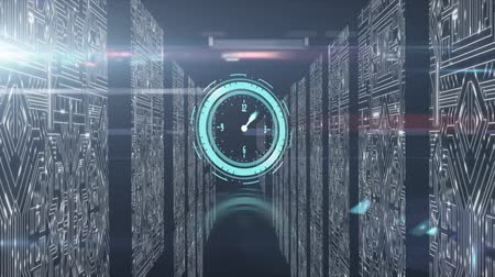 データベース : Animation of clock moving fast, data processing and digital information flowing through network of computer servers in a server room with white light trails flowing on surface. Global network of inter