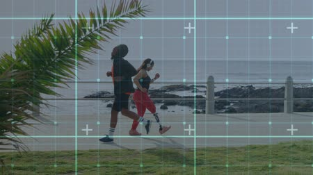 listening music : Animation of data processing and statistics recording with disabled woman with prosthetic leg walking and exercising wearing headphones by the sea in the background. Global sport disability and technology statistics data processing concept digital composi