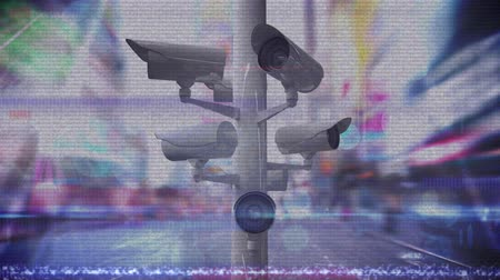 контур : Animation of Closed Circuit Television cameras moving around with horizontal flickering lines, city and road traffic in fast motion in the background. Global network of surveillance technology concept digital composite.