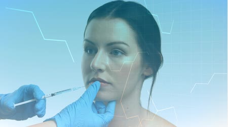 konstrukční prvky : Animation of white structural formula of chemical compounds floating around with female nurse injecting female patient on her upper lip. Universal aesthetic medicine concept digital composite.