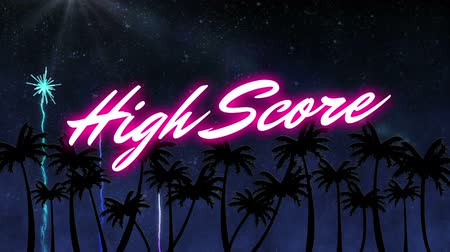 nineties : Animation of the words High Score written in neon glowing pink letters with firework display exploding over palm trees on night sky in the background. Video computer game screen and digital interface concept digitally generated image.