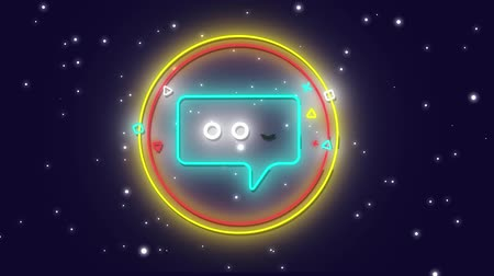ностальгия : Animation of flickering blue neon digital message icon in a glowing circle over stars on night sky in the background. Digital computer interface and networking communication concept digitally generated image. Стоковые видеозаписи
