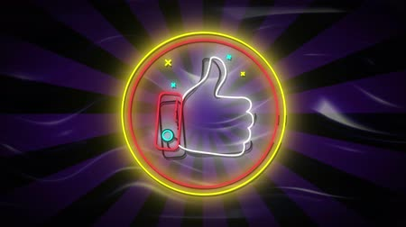 kciuk : Animation of flickering neon digital thumbs up like icon in a glowing circle on purple stripes on black background. Digital computer interface and networking communication concept digitally generated image.