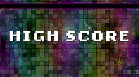 tükrözött : Animation of the words High Score written in white pixelated letters with white moving particles over multi coloured mosaic tiles reflected in surface in the background. Video computer game screen and digital interface concept digitally generated image.