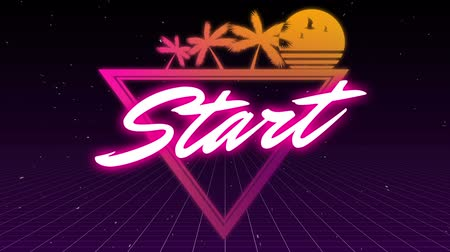 triângulo : Animation of the word Start written in neon glowing white and pink letters over pink to orange gradient triangle with palm trees and sun on night sky in the background. Video computer game screen and digital interface concept digitally generated image. Stock Footage