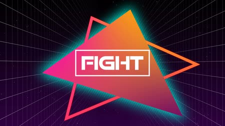 triângulo : Animation of the word Fight written in flickering white letters in white frame over pink to orange gradient triangles with grid on black background. Video computer game screen and digital interface concept digitally generated image.