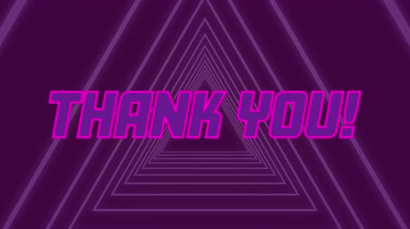 triângulo : Animation of the words Thank You! written in neon glowing pink letters on purple triangles moving in seamless loop in hypnotic motion on purple background. Video computer game screen and digital interface concept digitally generated image. Stock Footage