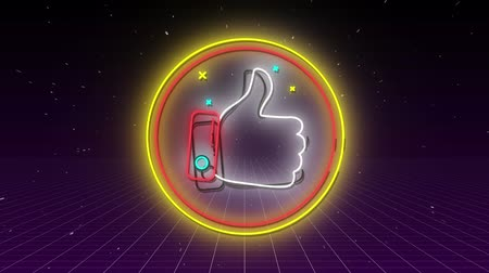 kciuk : Animation of flickering neon digital thumbs up like icon in a glowing circle on purple grid on black background. Digital computer interface and networking communication concept digitally generated image.