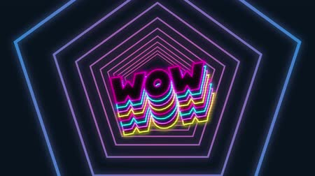 hexagon glow : Animation of the word Wow written in neon glowing pink, blue and yellow letters with blue to purple gradient hexagon outline moving in seamless loop in hypnotic motion on black background. Video computer game screen and digital interface concept digitally