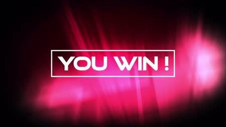 you win : Animation of the words You win! written in white letters in white frame on moving glowing pink lights on black background. Video computer game screen and digital interface concept digitally generated image.