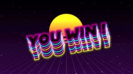 you win : Animation of the words You Win! written in neon glowing pink, blue and yellow letters with sun and moving purple grid on black background. Video computer game screen and digital interface concept digitally generated image. Stock Footage