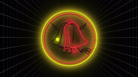 kursor : Animation of flickering red neon digital bell icon with a white cursor in a glowing circle with white grid on a black background. Digital computer interface and networking communication concept digitally generated image.