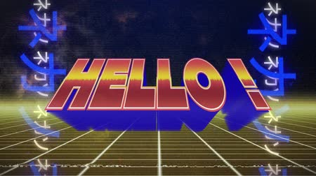hóquei : Animation of the word Hello! written in red and yellow letters over grid moving in seamless loop in hypnotic motion with glowing blue Asian Chinese writing on both sides in the background. Video game screen colour and pattern motion in repetition concept