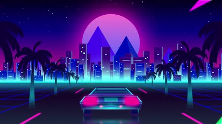 nineties : Animation of back of a car driving on palm tree lined highway with cityscape and pink glowing moon in the background. Video computer game screen and digital interface concept digitally generated image.