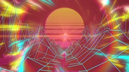 топография : Animation of glowing pulsating rays of blue and yellow colours moving in seamless loop in hypnotic motion with glowing orange sun, digital mountains with blue grid on orange background. Video computer game screen and digital interface concept digitally ge