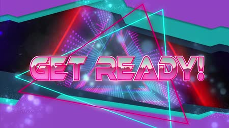 obter : Animation of the words Get Ready! written in metallic pink letters with blue, pink, purple and red glowing pulsating triangles moving in seamless loop in hypnotic motion. Video computer game screen and digital interface concept digitally generated image. Stock Footage