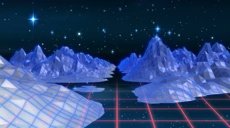 nineties : Animation of digital landscape with mountains and pink grid moving in seamless loop and stars on night sky in the background. Video computer game screen and digital interface concept digitally generated image.