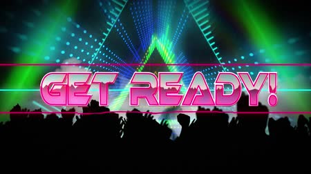 получать : Animation of the words Get Ready! written in metallic pink letters with pulsating triangles moving in seamless loop in hypnotic motion and silhouettes of people with arms in the air at a music concert. Video computer game screen and digital interface conc