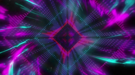 kaleidoskop : Animation of purple, blue and pink diamond shapes pulsating in seamless loop in hypnotic motion with glowing pattern on black background. Abstract colour and pattern motion in repetition concept digitally generated image.